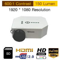 Mini LED Multimedia Projector Av VGA SD Miscro USB Hdmi Input 150 lumens